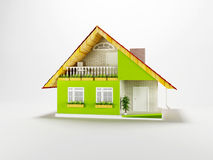 Nice cottage on white background Stock Images