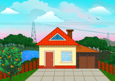 Nice country house illustration. Stock Image