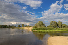 Nice country panorama with river, sheep and green field Royalty Free Stock Photography