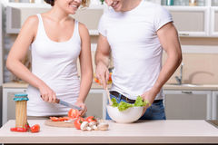 Nice couple cooking in the kitchen Stock Photography