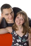 Nice couple on the couch. royalty free stock photo