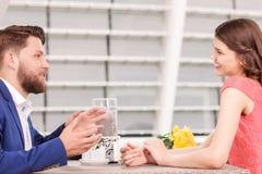 Nice couple having conversation Stock Photo