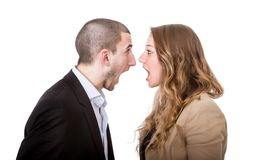Couple scream and fight Stock Photography