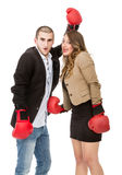 Couple scream and fight in a boxe match Stock Photo