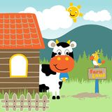 Morning in the farmyard with animals cartoon Royalty Free Stock Image