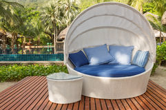 Nice cozy white round chair with canopy and blue cushions Royalty Free Stock Image