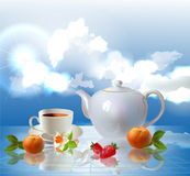 Nice cup of fruit tea and clouds Royalty Free Stock Photo