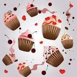 Nice cupcake on the  grey background Royalty Free Stock Photo