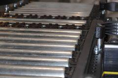 Manufacturing line. Nice cylinder automated manufacturing line Royalty Free Stock Images