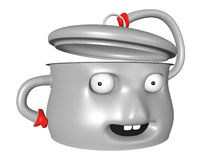 Nice 3D pot with smiling face is holding the lid open Royalty Free Stock Photography