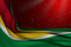 Pretty feast flag 3d illustration - dark photo of Guyana flag lie in corner on red background with bokeh and free space for your. Nice dark picture of Guyana vector illustration
