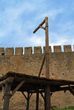 Nice day for hanging. Medieval gallows used for hanging criminals Stock Photo