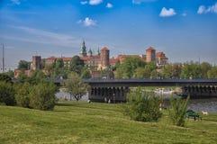 Nice day in Krakow, Poland. Park near Krakow Castle, Park Stock Photo