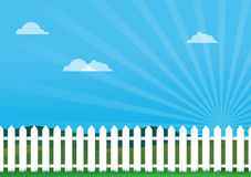 Nice Day With Picket Fence Stock Photography