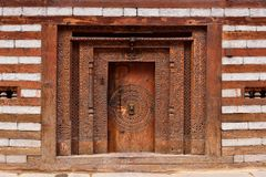 Facade of the traditional house in Old Manali in India. Nice decorated detail of facade of the traditional house in Old Manali in India, Himachal Pradesh Stock Images