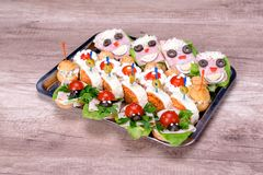 Food Catering bread sandwich meat tomato Stock Image