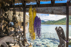 Patio in Pacific Ocean. Nice decorated patio with view to the Pacific Ocean in Huahine, French Polonesia Stock Photo