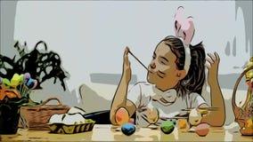 Nice den gulliga flickan har att måla för gyckel Den förtjusande flickan colorizing och hennes händer, en och annan, med en hjälp stock video