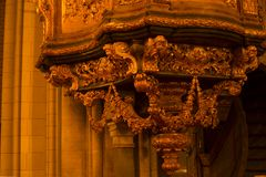 Ancient beauty of pulpit design at dom kyrkan royalty free stock photos