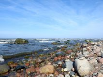 Beautiful stones on sea coast, Lithuania Stock Images