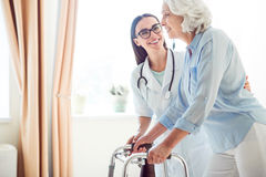 Nice doctor with disabled woman Stock Photos
