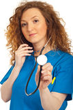 Nice doctor woman holding stethoscope Stock Photo