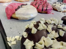 Nice Donuts. A closeup to a making of handmade donuts Royalty Free Stock Photography