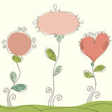 Nice doodle romantic background. Hand drawn sweet romantic background with frames for text. Vector design elements Stock Image