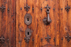 Nice door with wrought iron decoration Royalty Free Stock Image