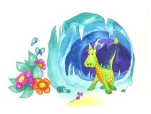 Nice dragon. A nice brave dragon into his lair. He's afraid of a little mouse. Watercolors Royalty Free Stock Photography