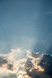 Nice drama sky with sun ray shining Royalty Free Stock Photos
