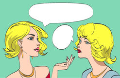 Nice drawn two talking blonde women in color. Vector pop art syle.  eps 10 Stock Photography
