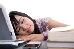 Nice dream next by laptop. Young woman have nice dream next by laptop Stock Photos