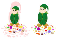 Nice dwarf with candies. And gift. Vector illustration in two variants Royalty Free Stock Image