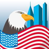 Nice eagle with american flag in the city. Vector illustration Royalty Free Stock Photo