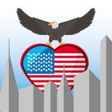 Nice eagle with american flag in the city. Vector illustration Royalty Free Stock Photos