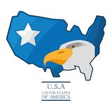 Nice eagle with piece of american flag. Vector illustration Royalty Free Stock Photography