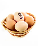 Nice eggs in basket with dollar sign Royalty Free Stock Image