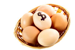 Nice eggs in basket with dollar sign Stock Photos