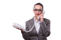 The nice elegant call center operator isolated on white Royalty Free Stock Photos