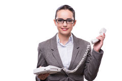 The nice elegant call center operator isolated on white Stock Images