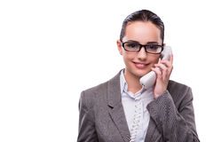 The nice elegant call center operator isolated on white Royalty Free Stock Images