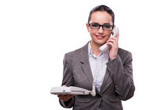 The nice elegant call center operator isolated on white Stock Photo