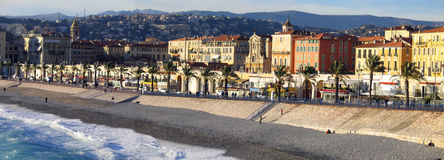 Nice embankment and beach panorama Stock Photography