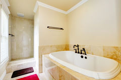 Nice empty bathroom with large white tub and shower. Nice empty bathroom with large white tub and walk-in shower Royalty Free Stock Photo