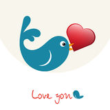 Nice enamoured birdie with heart Stock Images