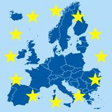 Nice europe. Map on the blue background Royalty Free Stock Photos