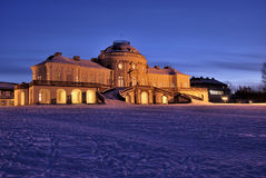 Solitude Schloss in Stuttgart. Winter evening atmosphere in Baden-Württemberg (Germany Royalty Free Stock Photography