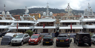 Nice - Expensive yachts anchored in the port Royalty Free Stock Image