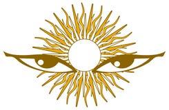 Nice eyes with stylized sun isolated Royalty Free Stock Photo